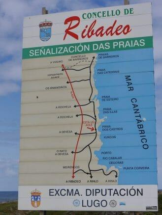 Karte der Strände (galicisch: Praias) bei Ribadeo