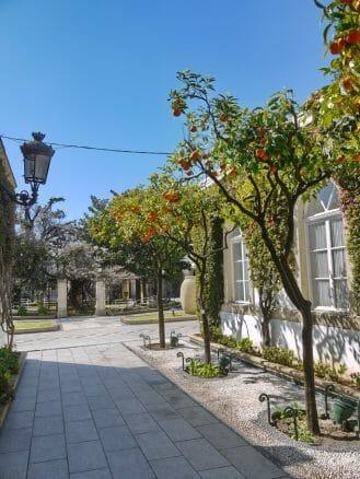 Im Innenhof der Bodega Osborne duftet es im Frühling nach Orangen