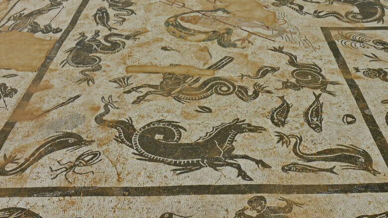Das Neptun Mosaik (Ausschnitt) in einer Villa von Itálica