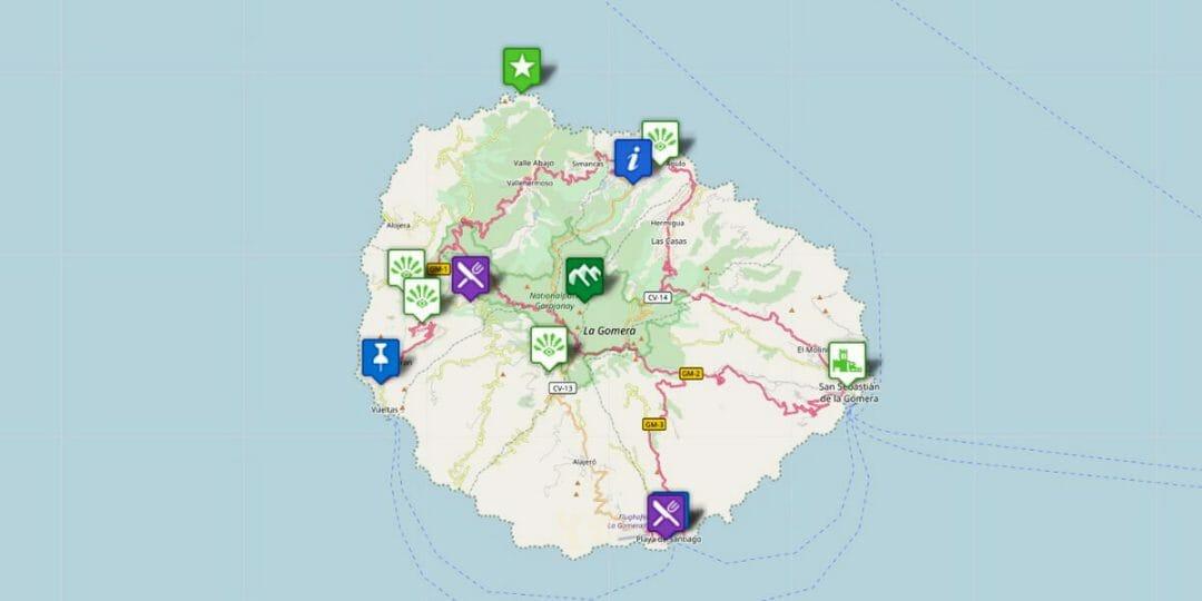 Karte La Gomera: Orte und Reiseziele auf der kanarischen Insel