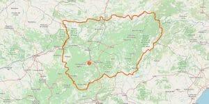 Jaén Karte der Provinz