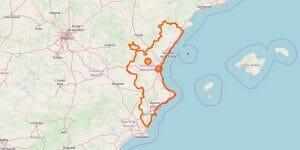 Valencia Karte (Region)
