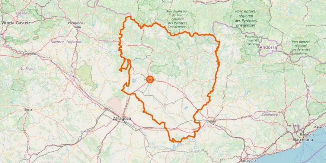 Karte der Provinz Huesca (Aragón)